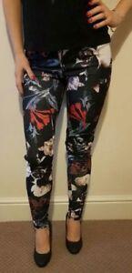 New-Womens-Stretchy-Floral-Printed-Legging-ex-Papaya