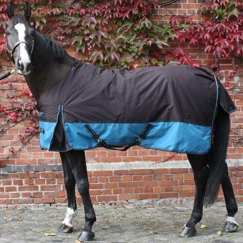 Regendecke Outdoordecke m Fleece braun//aquamarin 115-165 Pferdedecke Weidedecke