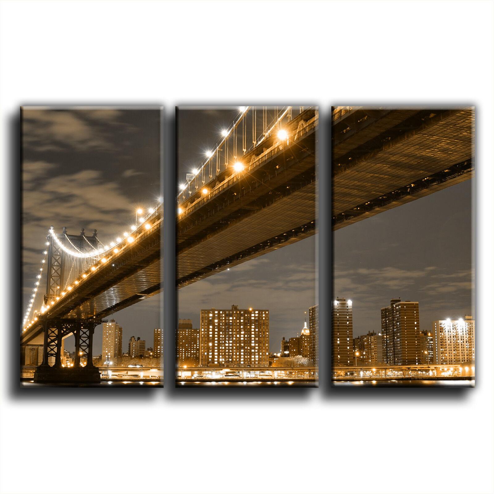 New York Manhattan Bridge Landscape Treble Treble Treble Canvas Wall Art Picture Print 14- 9b8d41