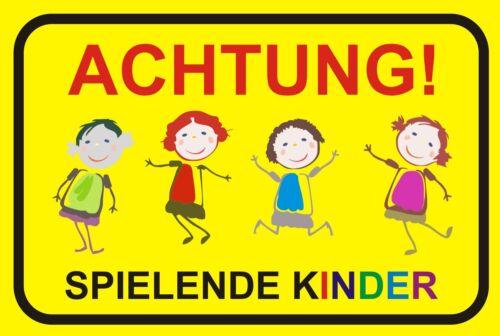 """Warnhinweis langsam 40x30cm draußen Hinweisschild /""""Achtung spielende Kinder/"""""""
