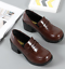 Women-Chunky-PU-Leather-Slip-On-Oxford-Block-Heel-Casual-Vintage-Office-Shoes-Sz