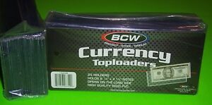25-REGULAR-BILL-CURRENCY-TOPLOADERS-RIGID-HOLDS-U-S-CURRENCY-FREE-SHIPPING