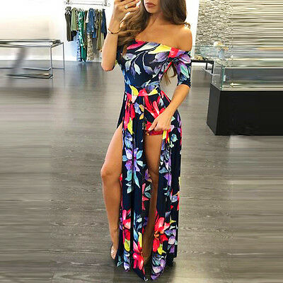 FEMME BOHO Combinaison Barboteuse robe maxi soirée Combinaison plage robe longue