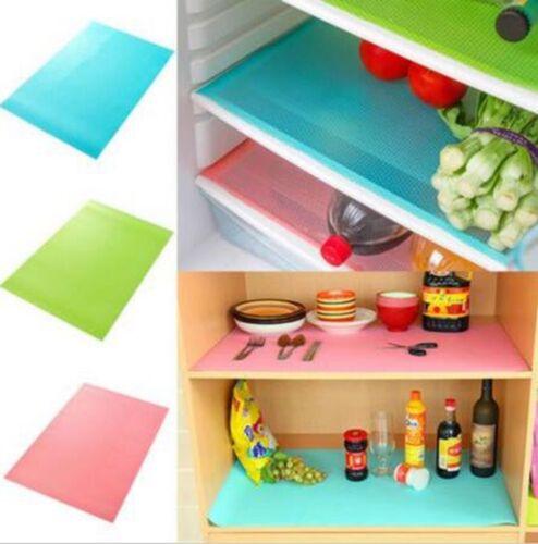 4x Refrigerator Fridge Mat Pad Drawer Liners Washable Kitchen Waterproof Shelf