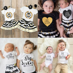 US Big//Little Sister Brother Matching Set Baby Girl Boy Tops Romper Dress Outfit