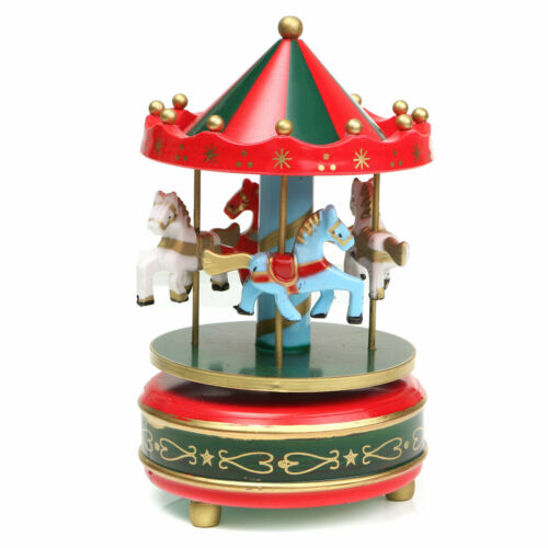 Wooden Merry-Go-Round Carousel Music Box Birthday Christmas Xmas Gift Toy