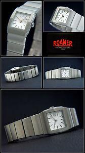 Square-168-Roamer-Women-039-s-Watch-Stainless-Steel-Folding-Clasp-Swiss-Made