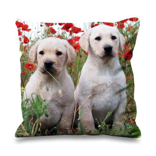 Golden labrador pups fausse soie 45cm x 45cm canapé coussin-labs labrador