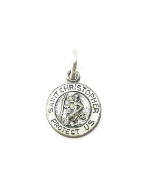 Sterling Silver 0.925 Saint St Christopher Tiny Medal Necklace Pendant Charm