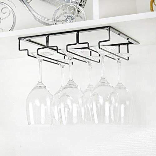 Wine Glass Rack Under Cabinet Stemware Holder Glasses Storage Hanger 2 Pack
