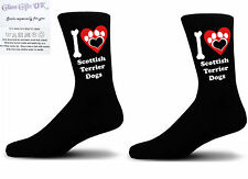 Black I love Scottish Terrier Dogs With a Paw Print Design Socks