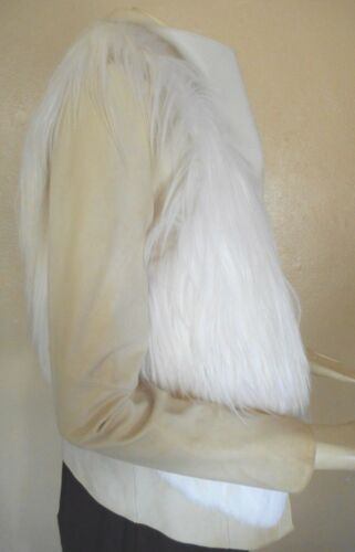 Helmut Lang Ivory White Leather & Fur Jacket Size L Nwd by Helmut Lang