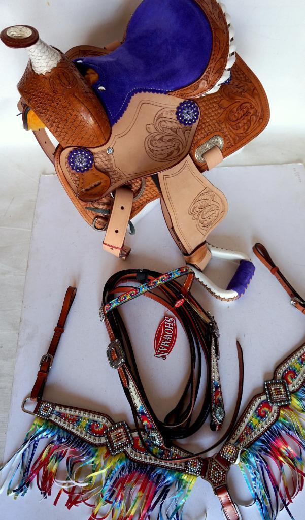 10 12  Med viola seat Western PONY Show Saddle Saddle Saddle SHOWMAN HORSE HSBP Fringe 4pc 625ac8