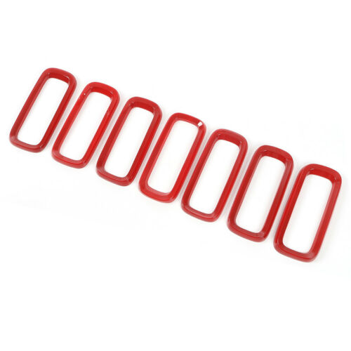 7pcs Red Front Grille Insert Ring Trim Cover for Jeep Renegade 16-18 Accessories