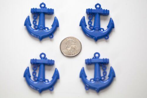 lot for Bubblegum Gum Ball Chunky Necklace Blue Anchor Pendants 39mmx45mm 4 ct