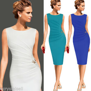 Women-Tunic-Peplum-Party-Cocktail-Bodycon-Office-Formal-Wiggle-Pencil-Midi-Dress