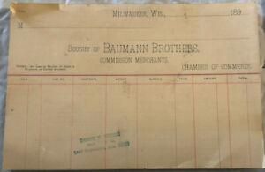 Vintage-1890-039-s-Baumann-Brothers-Receipts-Blank-Milwaukee-WI