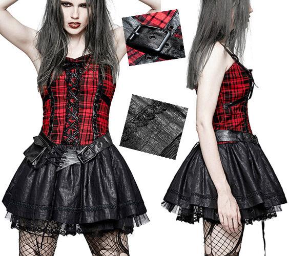Robe patineuse bustier jupon gothique punk lolita kawaï écossais tulle Punkrave