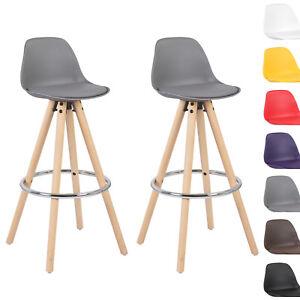 2er set barhocker tresenhocker barstuhl holz mit lehne stuhl grau bh45gr 2 ebay. Black Bedroom Furniture Sets. Home Design Ideas