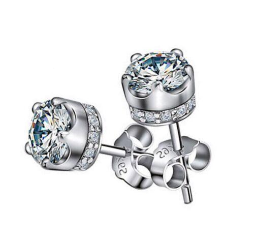 Kronen Ohrstecker Ohrringe 925 Sterling Silber Amethyst Lila //Weiß Zirkon G63