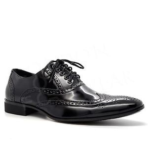 New Mens Lace Up Brogues Faux Leather Italian Casual Style Smart Formal Shoes UK