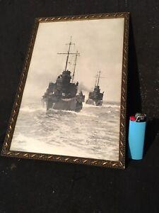 Alte gerahmte Fotografie Flottenverband Marine 1WK Kriegsschiff 30,5 x 21 cm
