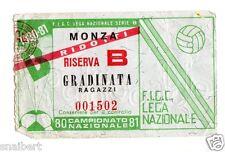 CALCIO   BIGLIETTO  TICKET   MONZA  RIDOTTI  RISERVA  B  CAMPIONATO  1980-81