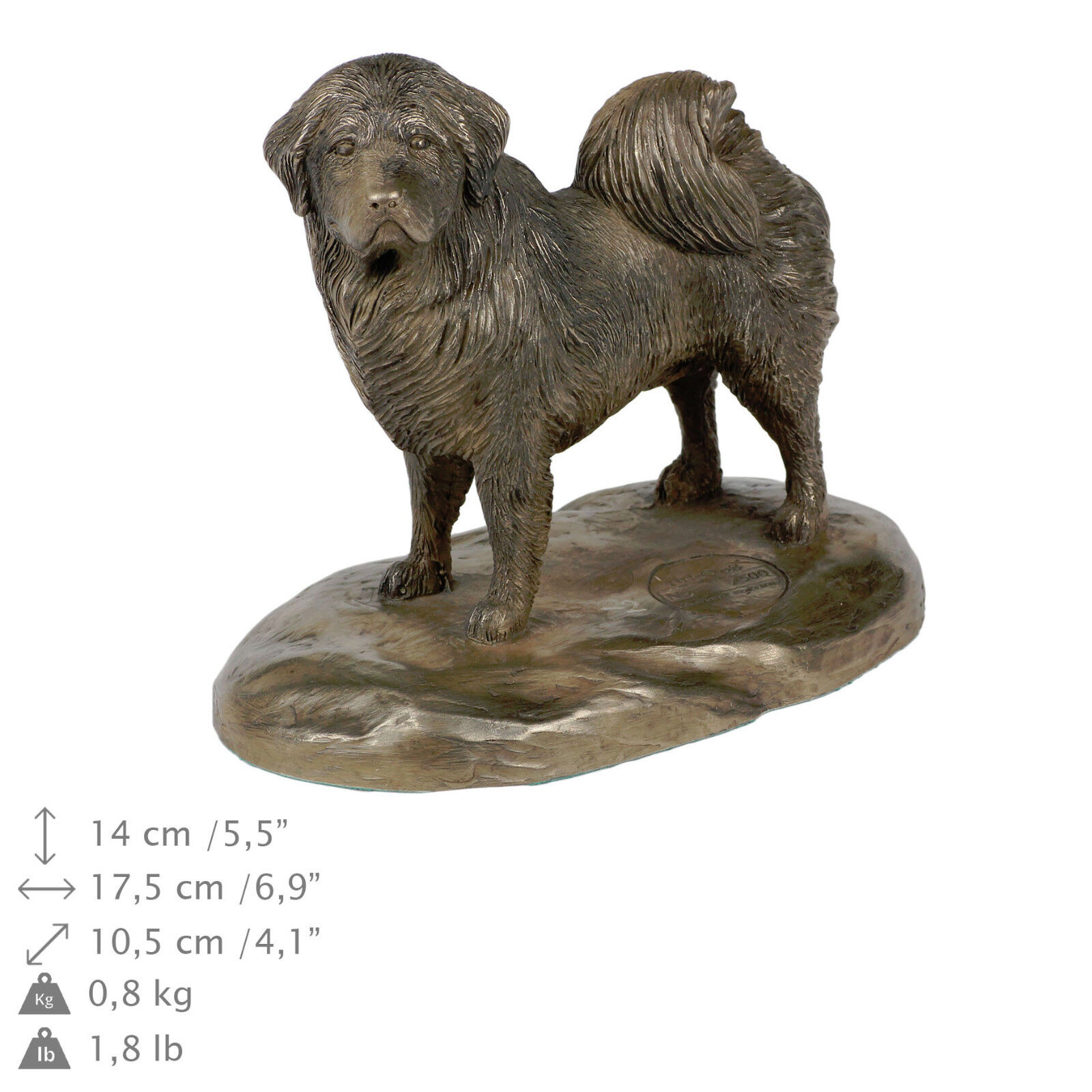 Tibetan Mastiff, busto statua di cane su base di legno, Art Dog IT