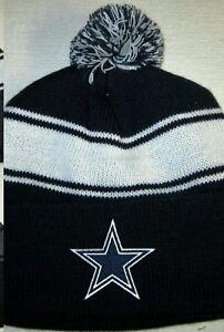 c48b39536 Details about Dallas Cowboys Pom Pom Beanie ~Hat ~Classic NFL Patch/Logo  ~Cool Navy ~NEW