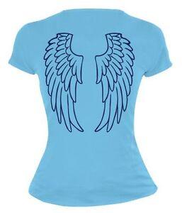 Damen-Kurzarm-Girlie-T-Shirt-Engelsfluegel-Rueckendruck-angel-Karneval-Funshirt