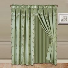 Incroyable 8 Piece Nada Leaf Design Silky Valance Panel Sheer Rod Pocket Window Curtain  Set