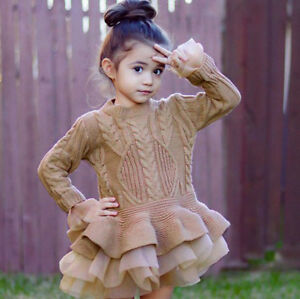Girl-Kids-Knitted-Sweater-Winter-Crochet-Tutu-Dress-Princess-Party-Gown-Skirt-UK
