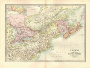 1890 ANTIQUE MAP - CANADA AND NORTHERN UNITED STATES | eBay