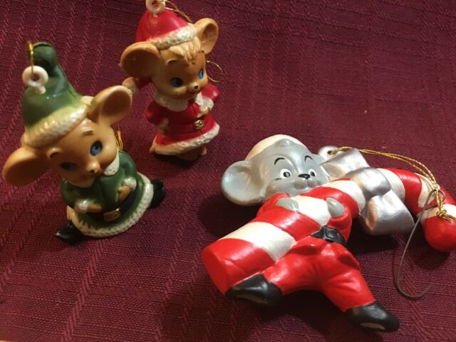 RARE 1996 NEW THE SEWING CLUB MICE MERRY MINIATURES 3 PIECE ORNAMENT SET SO CUTE
