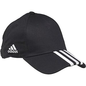adidas Mens 3 Stripe Baseball Cap Hat Black Silver 4055008387901  07f03b2484ac
