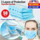 50-Pack 3-Ply Disposable Earloop Mouth Cover Face Mask