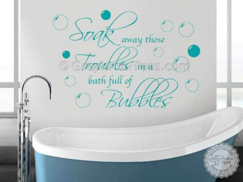 Bathroom Wall Stickers Soak Away Troubles with Bubbles Quote Wall Decor Decal