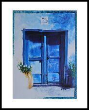 Hoffmann Blaues Fenster Poster Kunstdruck Bild mit Alu Rahmen in schwarz 30x24cm