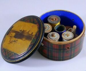 Antique-Prince-Charlie-Tartanware-Sewing-Thread-Spool-Box-Mauchline-Photo-Lid