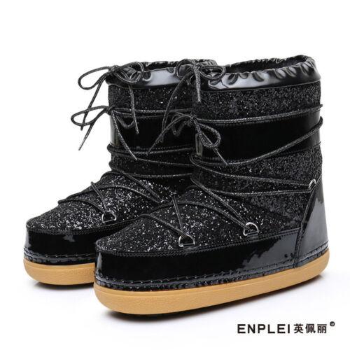 Femme Cheville Bottes de Neige Paillettes Lacets Fashion Kids MOON BOOTS Snowboard Chaussures