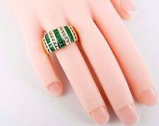 14K BH EFFY 1.74 Carat Natural Emerald & Diamond 12mm Band Size 7