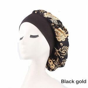 Women's Sleep Night Cap Wide Band Floral Printed Satin