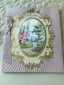 Vintage-Easter-Card-Purple-Gold-Framed-Sachet-Hallmark-Water-Fountain-Ribbon