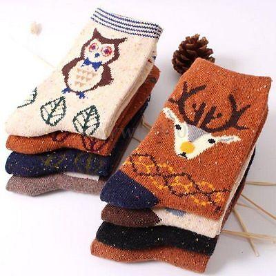 Fashion Women Cartoon Cotton Ankle Socks Winter Deer Wool Christmas Xmas Gift