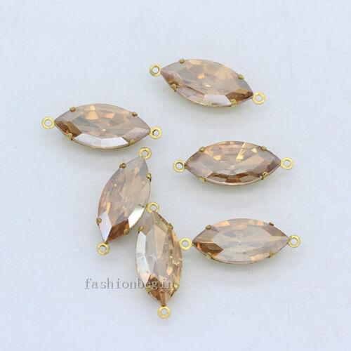 30p 5x10mm navette vintage Sparkle Verre Cristal Strass Daggle Perles 2 boucles
