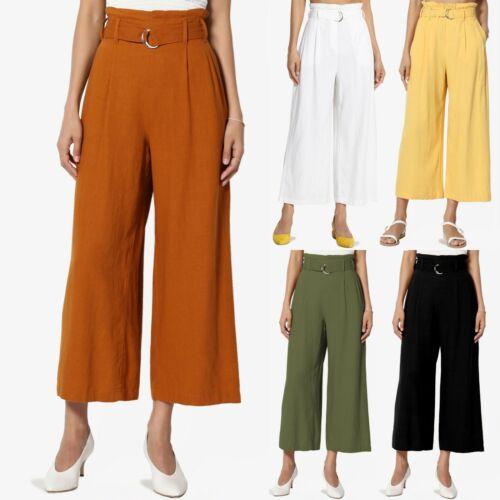 TheMogan Belted High Waist Linen-Blend Cropped Wide Leg Trouser Pants Culottes