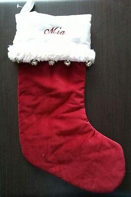 "Pottery Barn 20/""  CHRISTMAS STOCKING Basic Velvet Red with White Trim NWT"
