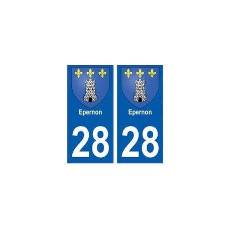 28 Epernon blason stickers ville -  Angles : droits