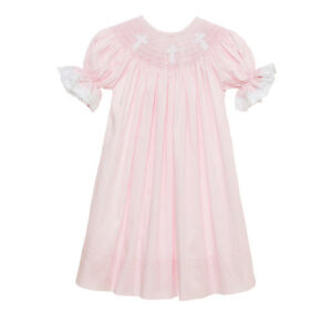 New-Smocked-Cross-pink-bishop-dress-with-lace-6m-3t-Baptism-Easter-Christening