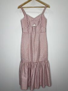 Forever New Red Stripped Midi Dress With Ruffle Size 8 EUC